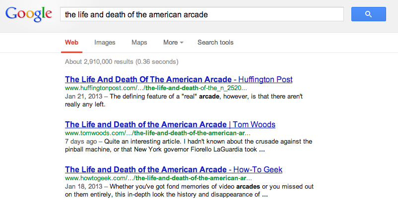 Google results for The Verge - For Amusement Only: the life and death of the American arcade