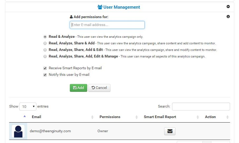 Add a user and greant access to your analytics campaign