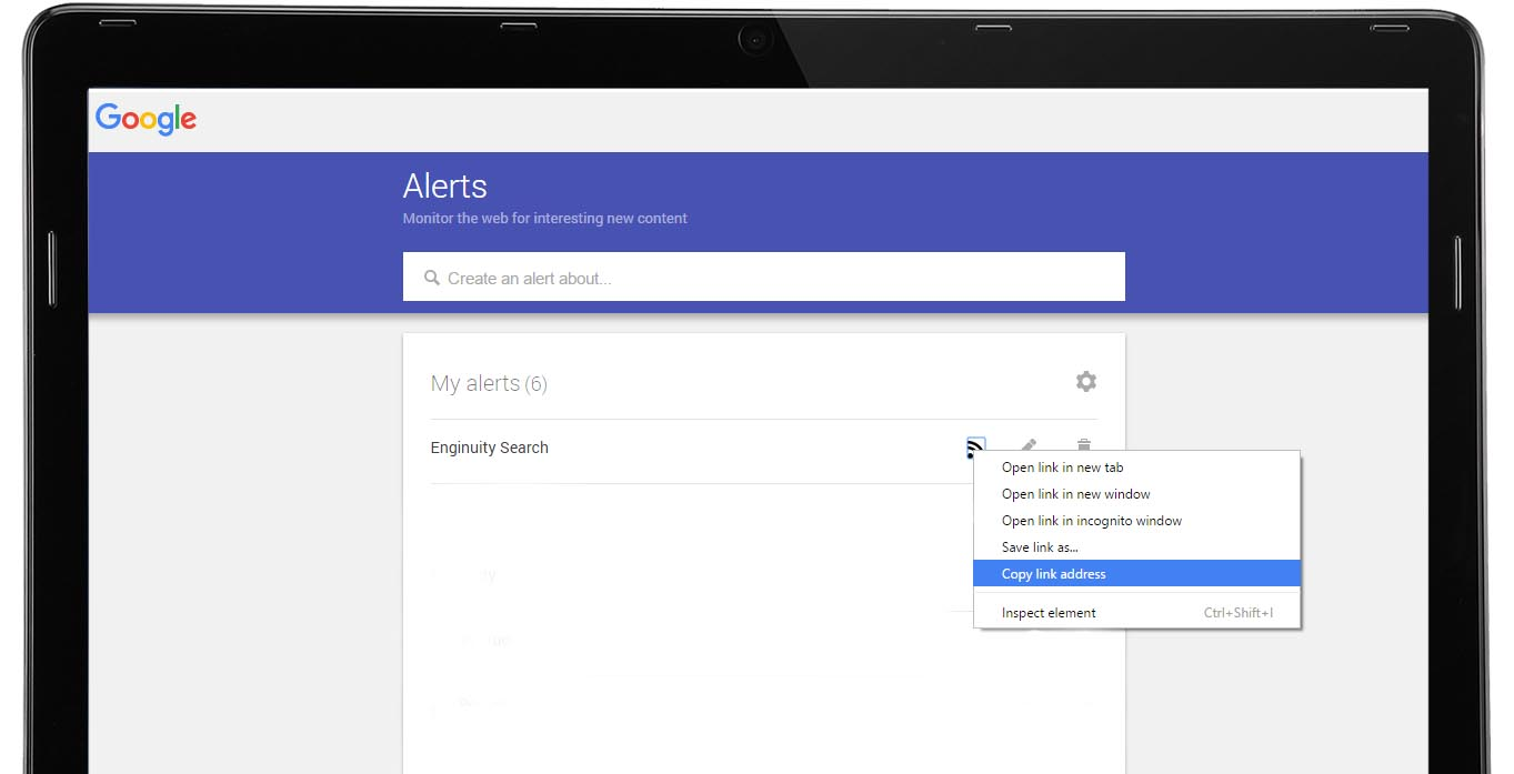 Copy Google Alerts RSS Feed URL